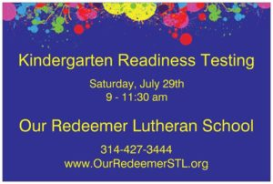 Kindergarten Readiness Testing @ Our Redeemer School | Overland | Missouri | United States